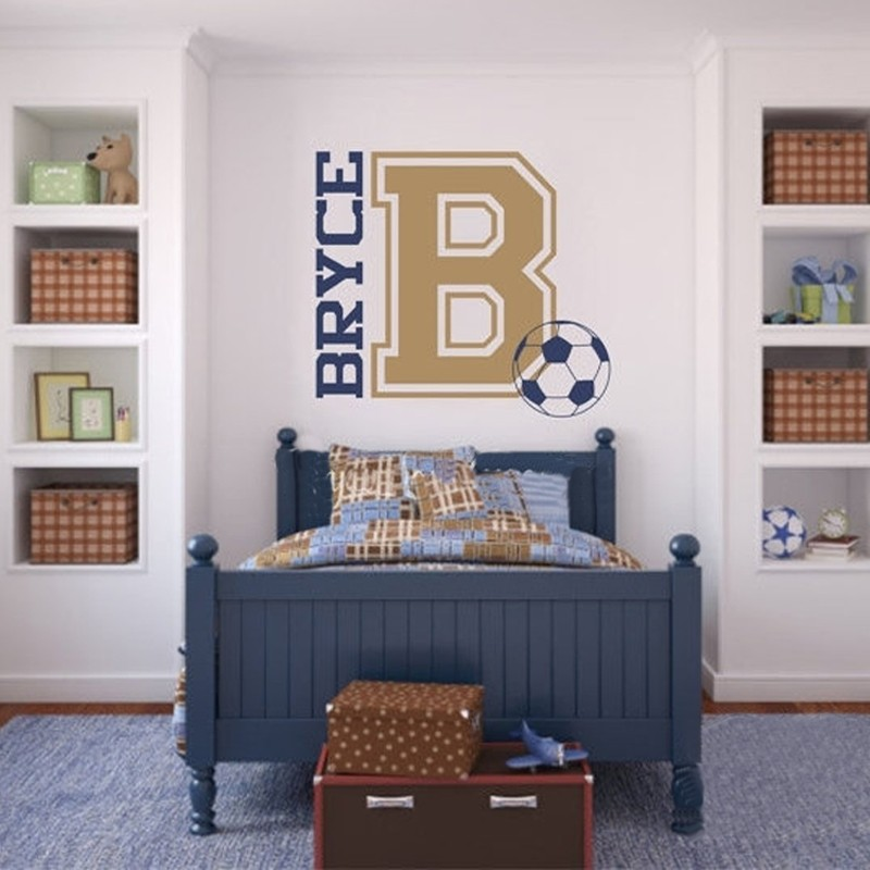 Soccer Wall Decal Personalized Name and Initial for Teen Boys Bedroom Sports Wall Decal Football Wall Stickers for Kids Rooms