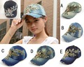2014 new Retail Luxurious gold lace cowboy denim women baseball cap men Hat rhinestone print Diamond Point