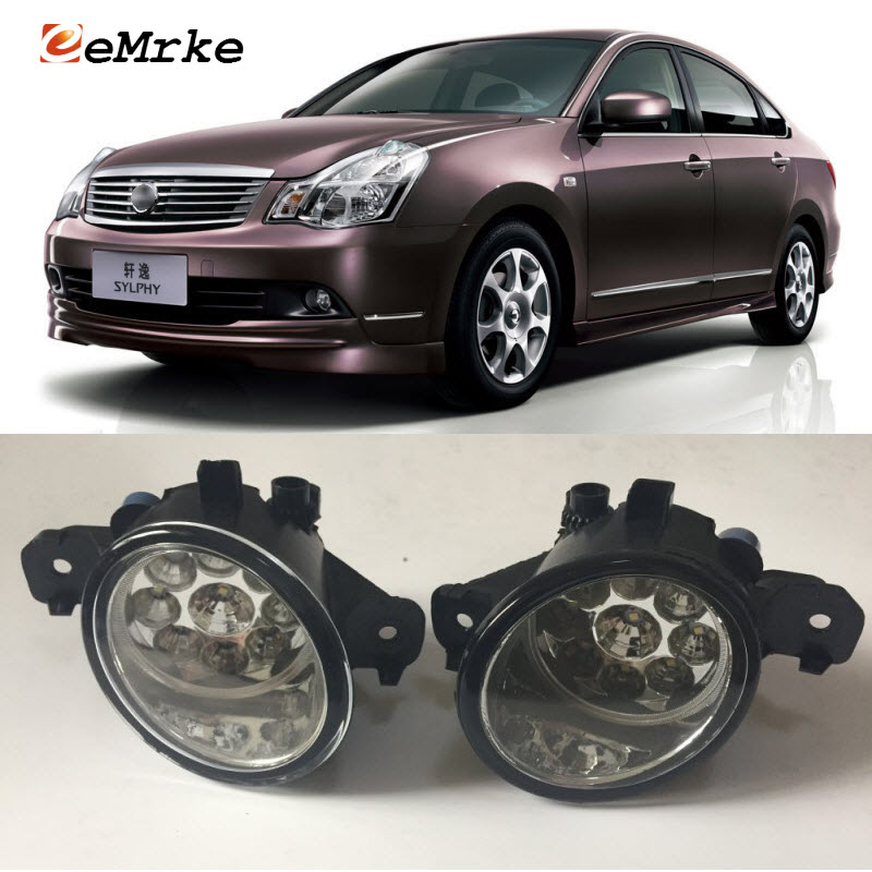 EEMRKE For Nissan Bluebird Sylphy Almera (G11) 2005-2011 9-Pieces Led Halogen Fog Lights 12V 55W Fog Head Lamp Car-Styling ветровики prestige nissan almera classic sd 06