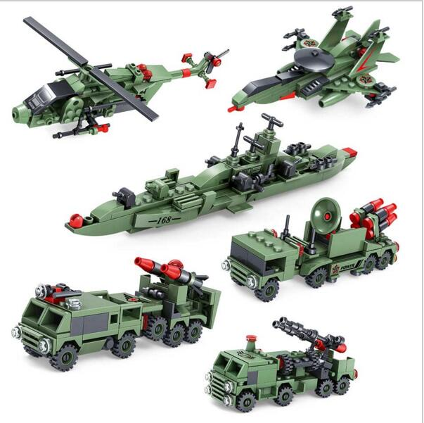 KAZI Building Blocks K84047 597pcs 6 in 1 Military Weapons Model Building Kits Model Toy Bricks Toys Hobbies Blocks kazi building blocks k87011 608pcs pirates black pearl model building kits model toy bricks toys hobbies blocks