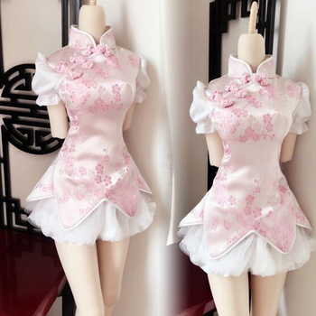 New Chinese style Chinese dress cherry blossom pink skirt 1/3 1/4 SD DD BJD Doll Clothes