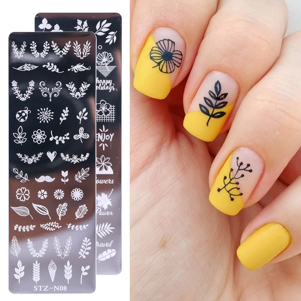 Image 2 - 1pcs Nail Stamping Plates Painting Image Stencils For Nails Florals Feather Leaf Butterfly Geometric Template Design LASTZN01 12-in Nail Art Templates from Beauty & Health