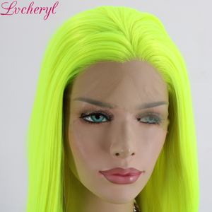 Image 3 - Lvcheryl Natural Long Silky Straight Neon Yellow Color Heat Resistant Synthetic Lace Front Wigs Cosplay Party Makeup Wigs