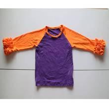orange and purple raglan sleeve t-shirt hallaween fashion top dress o-neck cotton children tee
