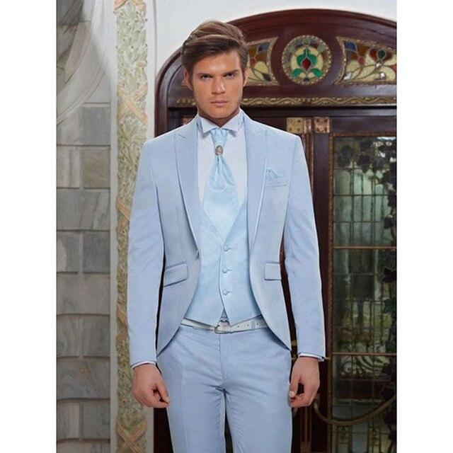 Azul claro clásico hombres traje boda elegante esmoquin 2017 3 unidades para  hombre Terno Masculino ( 361011dbc1e