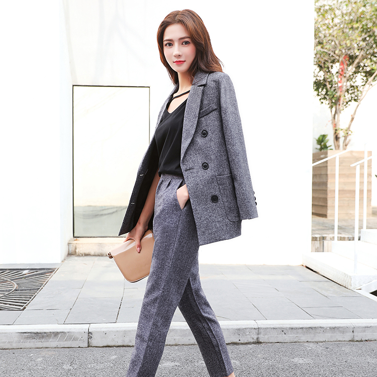 Korean style womens blazer + trouser two pieces set casual slim double breasted grey suits for business lady jn131
