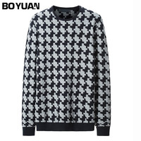 BOYUAN 2017 New Spring Autumn Fashion Brand Casual Sweater O Neck Plaid Slim Fit Knitting Mens