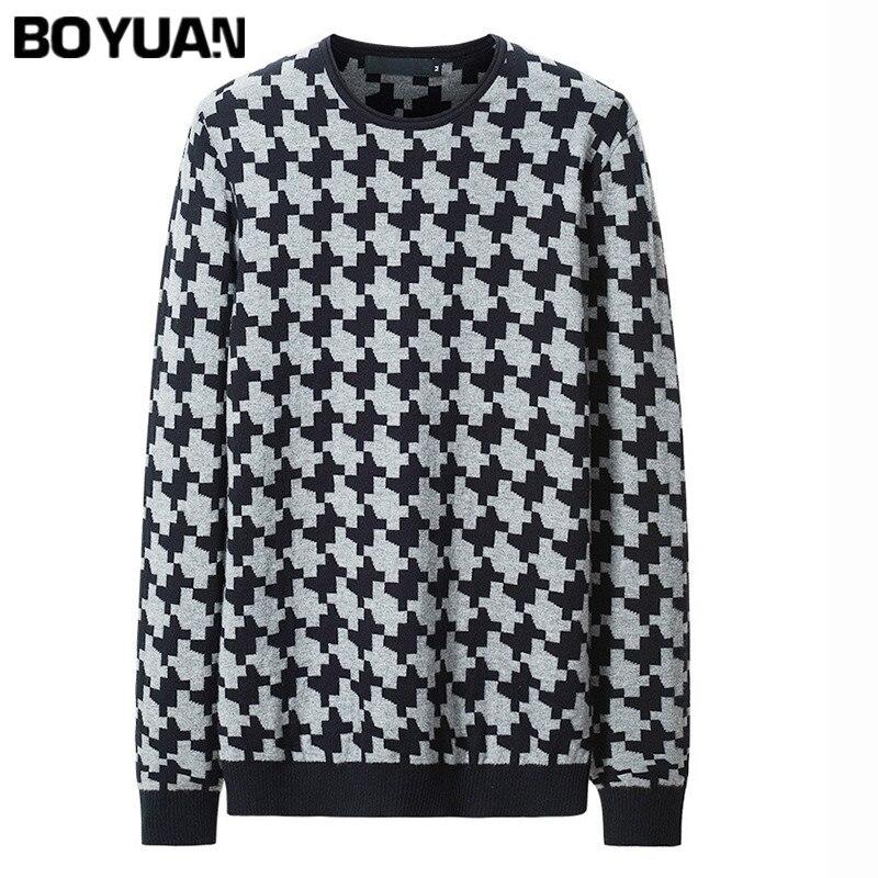 BOYUAN 2017 New Spring Autumn Fashion Brand Casual Sweater O Neck Plaid Slim Fit Knitting Mens