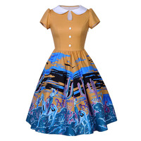 Sisjuly 2017 Vintage Peter Pan Collar Dress Summer Female Mid Calf Cartoon Print Elegant Party Dress