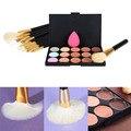 2016 Professional Makeup Set 15Colors Concealer Palette+Makeup Foundation Sponge+12Pcs Makeup Brush Tool