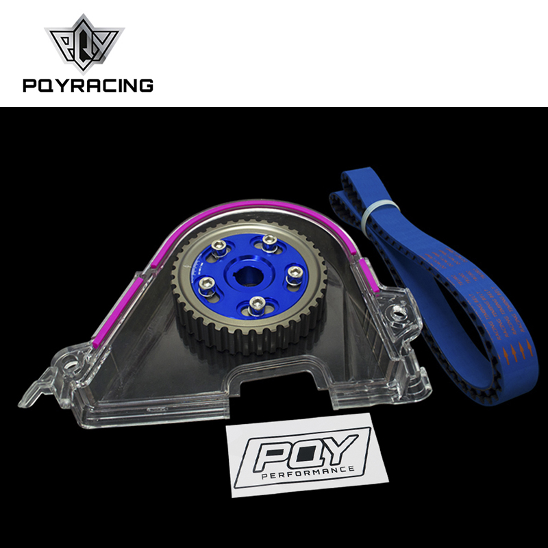 PQY - HNBR Racing Timing Belt + Aluminum Cam Gear + Cam Cover FOR 92-00 Civic D16Z D16Y WITH STICKER vr racing hnbr racing timing belt aluminum cam gear clear cam cover for mitsubishi lancer evolution evo 9 ix mivec 4g63