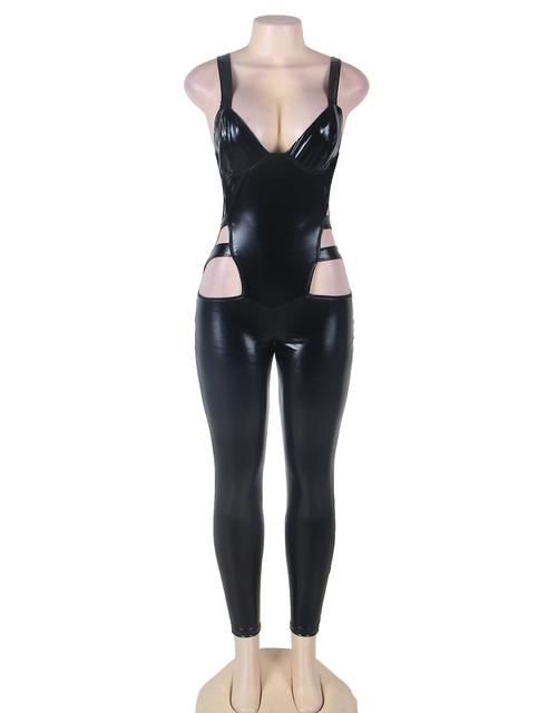 RK80270 Escavar Corpo Inteiro látex Catsuit Mulheres Nova Chegada Preto Faux Leather Jumpsuit Stripper Bodycon Macacões Para As Mulheres