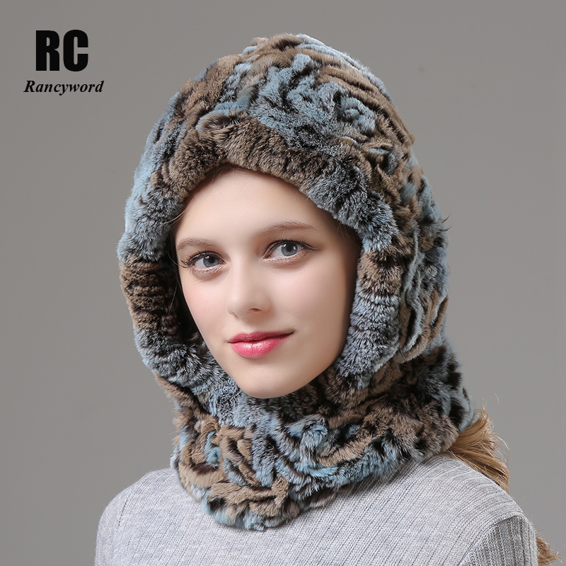 [Rancyword] Womens Winter Hats Neck Scarf Knitted Real Rabbit Fur Scarves Hat Winter Warm Natural Fur Scarf For Girls RC1372