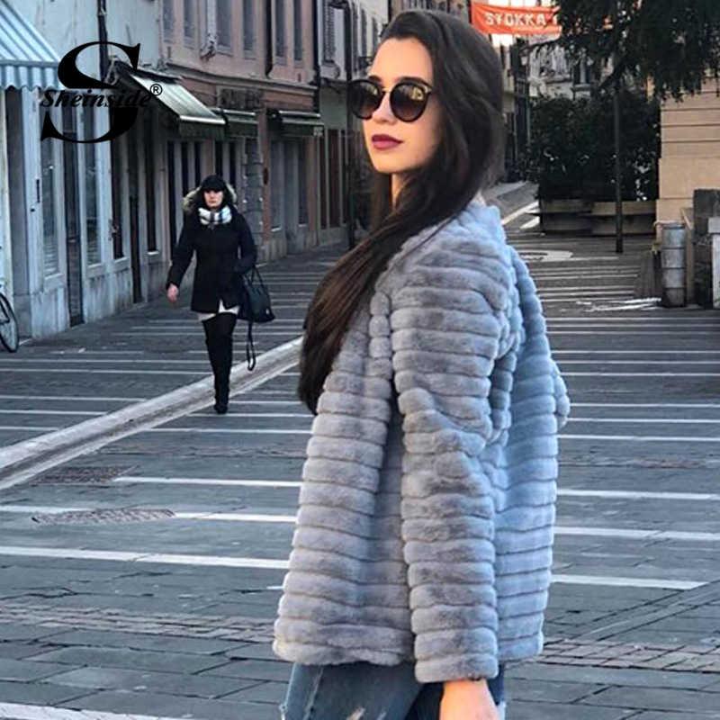 5474386803 ... Sheinside Casual Grey Solid Wrap Faux Fur Teddy Coat Winter Jacket Lady  2018 Winter Thicken Outerwear