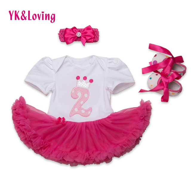 d0bc0b575464 Princess Summer New Born Baptism Baby Girl Dress 1st birthday Outfits  Romper Tutu Dress Shoes Headband