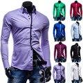 Моды для Мужчин Роскошные Вскользь Стильный Slim Fit С Длинным Рукавом Повседневная Рубашка