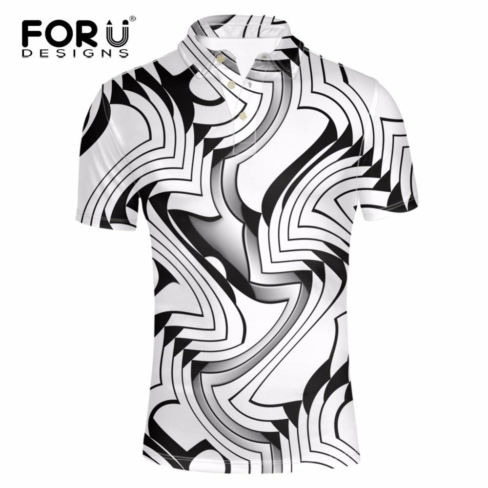 FORUDESIGNS Classic Men polo 3D Black and White Lattice Pattern Men Shirts Brand Breathable Men Short Sleeves Summer Beach Tops