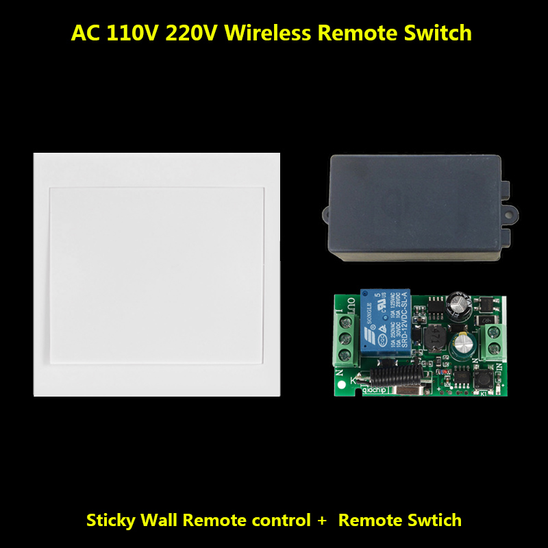 433 Mhz Wireless RF Wall Panel Transmitter and AC 110V 220V 1-Channel Remote Control Switch Receiver For Hall Bedroom Lights
