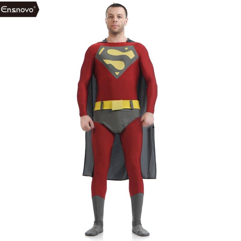 Ensnovo Superm Cosplay Costume Adult Spandex Lycra Bodysuit For Halloween Party Cosplay Men Women Leopard Bodysuits