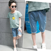 New Children Ripped Jeans For Boys Blue Shorts Casual Cotton Kids Designer Jeans Trousers 2 4