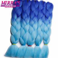 Miroir de Mirra couleur tressage Extensions de cheveux Ombre Jumbo tresses cheveux bleu Crochet tresses cheveux synthétiques deux/trois tons