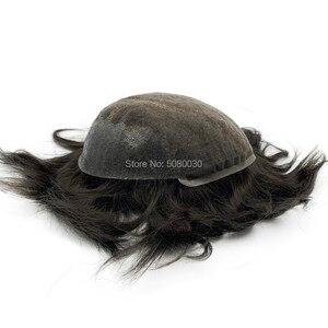 Image 4 - Мужская система для волос Q6 стильные мужские волосы система шнурка волос естественная линия волос Отбеленный узел remy волосы