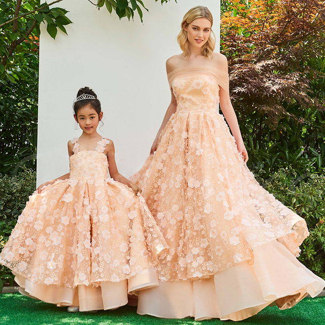 1c0d34bb9e8 Flower Girls Dress Pink Mother Daughter Wedding Dresses for Evening Mother  and Daughter Clothes Family Look Clothing Bebes Dress