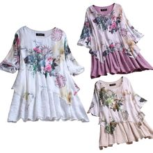 2019 Women Plus Size Spring Casual Cotton Linen O Neck Long Sleeve Boho Floral Printed Irregular Loose Party clothes Shirt Top long plus size kitten printed bell sleeve ruffle top