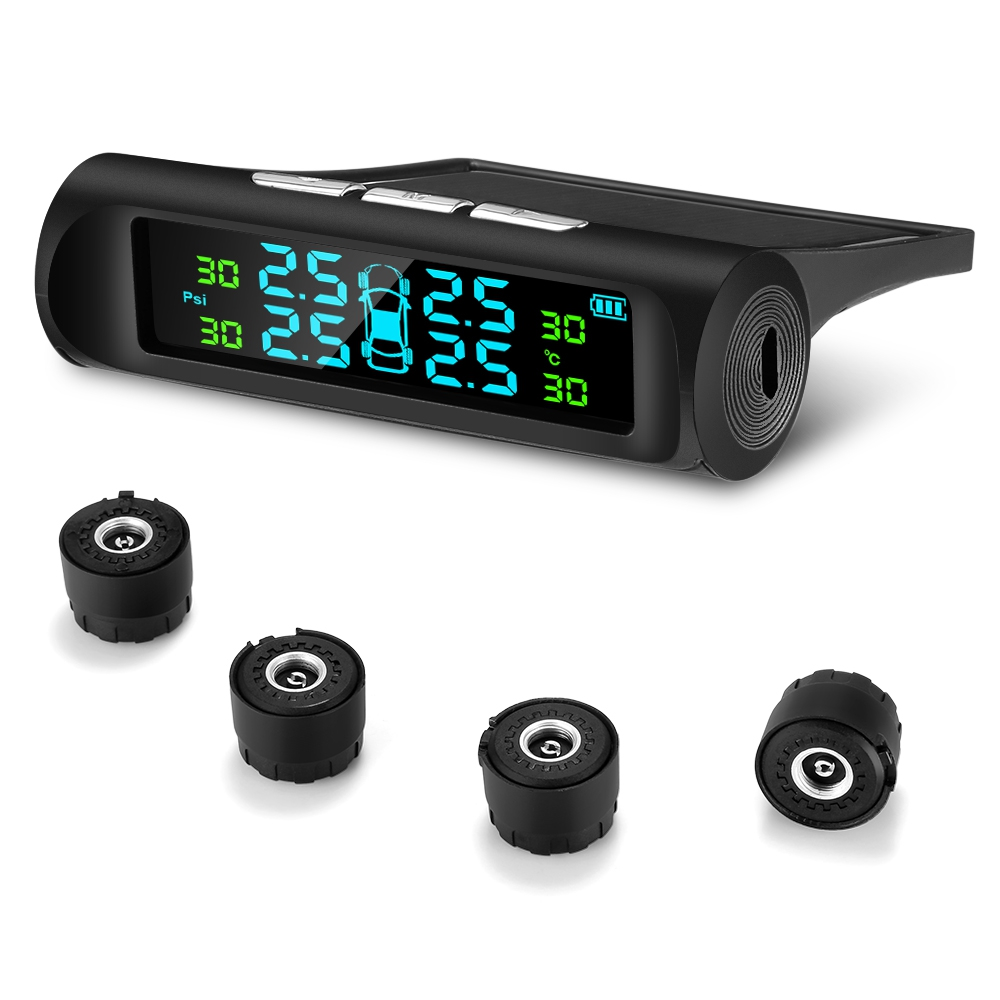 Car Tire-Pressure-Monitoring-System Lcd-Display External-Sensors Digital Solar-Charging