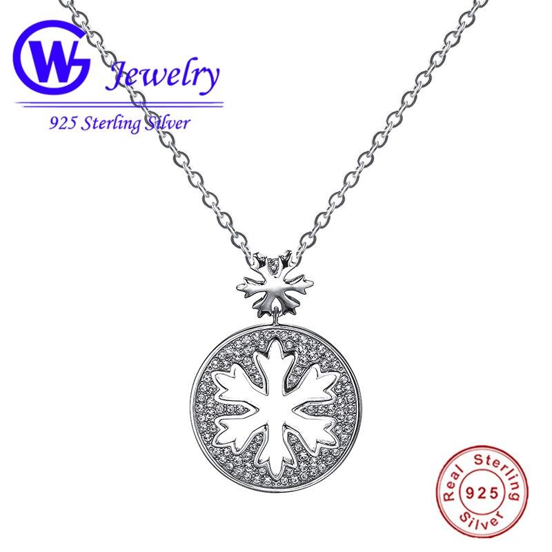 925 argent Sterling creux flocon de neige colliers et pendentifs avec la pierre blanche meilleur cadeau pour collier femmes match quotidien porter