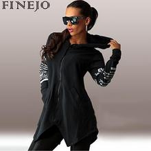 цены FINEJO Hoodies Women Sweatshirts Casual Long Sleeve Letter Printed Hooded Hoodies Irregular Hem Harajuku Sweatshirt Pullovers