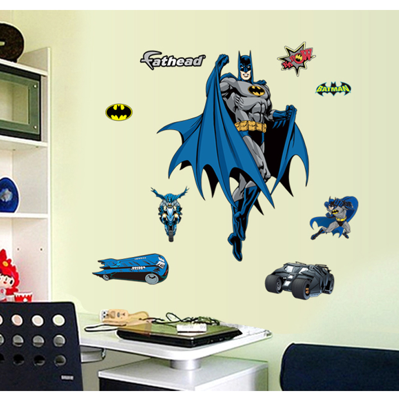 batman 3d wandaufkleber cartoon niedliche wandaufkleber f r kinderzimmer waterprooing jungen. Black Bedroom Furniture Sets. Home Design Ideas
