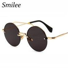 Ronda sin montura gafas de sol hombres de diseñador de la marca gafas de sol  redondas de moda de los hombres puntos azul para la. 6f7607145739