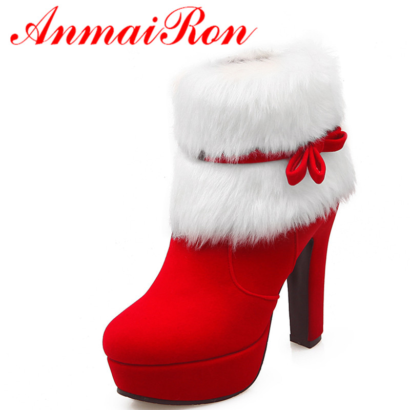 ФОТО ANMAIRON Sexy Red High Heels Zippers Fashion Boots Shoes Woman Bowties Charms Ankle Boots for Women Winter Warm Platform Shoes