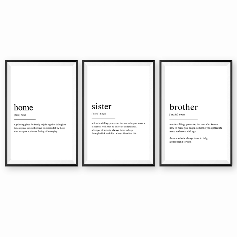 Home Definition Wall Art Canvas Posters Prints Brother and Sister Definition Painting Black White Wall Picture Living Room Decor