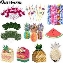 Вечерние подарочные коробки с фруктами, арбузом, ананасом, Подарочная коробка, Пальмовые Листья, для летней вечеринки, для дня рождения, украшения для вечеринки в гавайском стиле