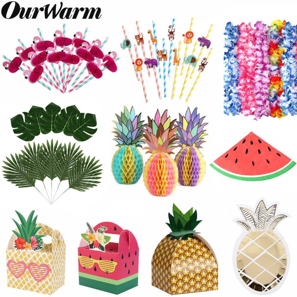 OurWarm Fruit Party Decor Wassermelone Ananas Papier Geschenk Box Palm Blätter Sommer Party Favors Geburtstag Hawaiian Party Dekoration
