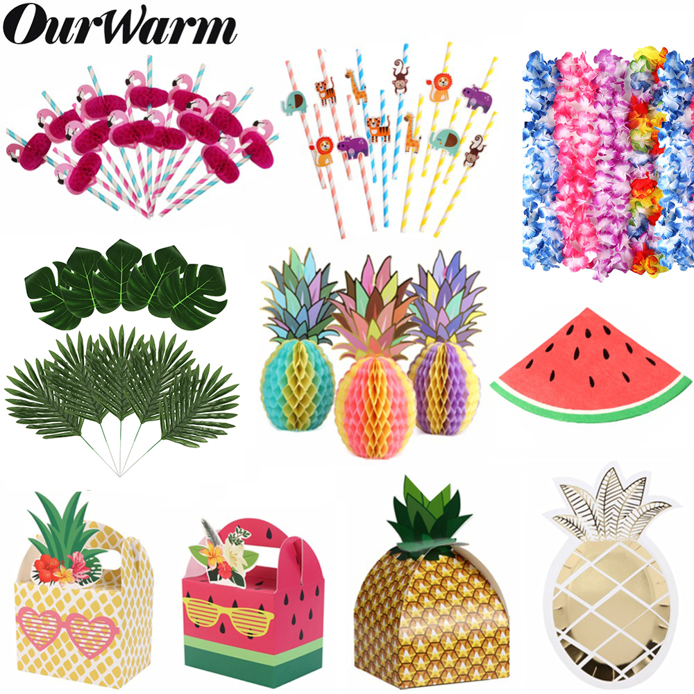 OurWarm Fruit Party Decor Watermelon Pineapple Paper Gift Box Palm Leaves Summer Party Favors Birthday Hawaiian Party Decoration