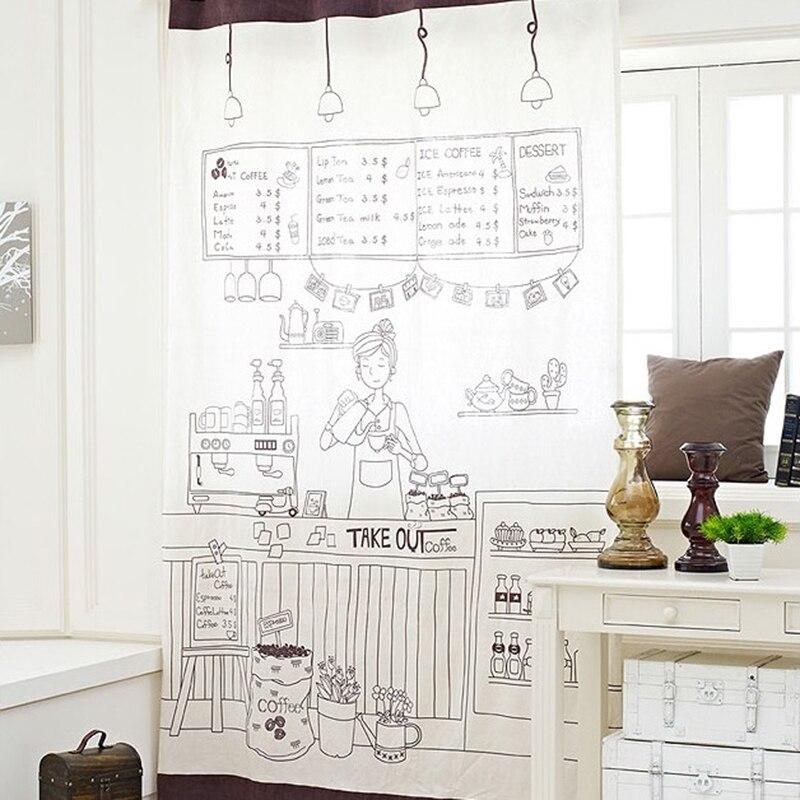 cortinas de puertas de cocina de algodn rstico americano europeo nias de caf de lujo panel