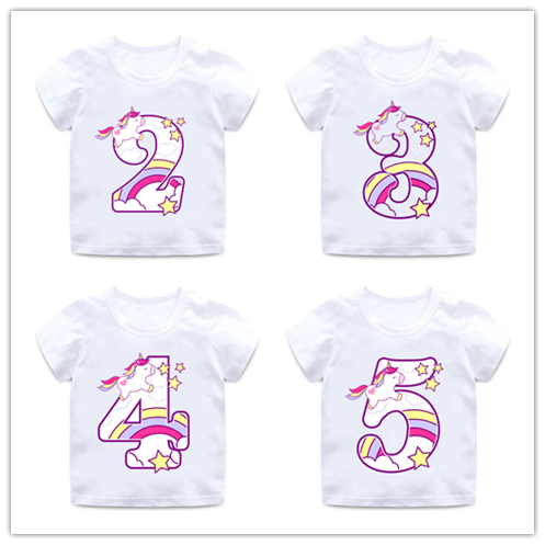Boys/Girls Happy Birthday Unicorn Number 1-9 Bow Print T Shirt Baby Cartoon Funny T-shirt Kids Birthday Present Clothes,ooo5238