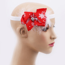 New Christmas Children Headband Bow Feather Snow Flower Headband Hair Girls Head Wear Merry Christmas Accessories(China)