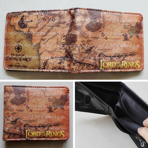 2018 Movie The Lord of the Rings Map Logo wallets Purse Brown Leather New W209 2018 movie the terminator t850 skull logo wallets purse multi color 12 cm leather w211