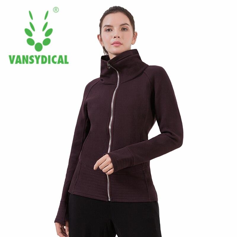 Vansydical Winter Sports Running Jacket Women s Warm High collar Zipper Windproof Sportswear Tops Outdoor Workout