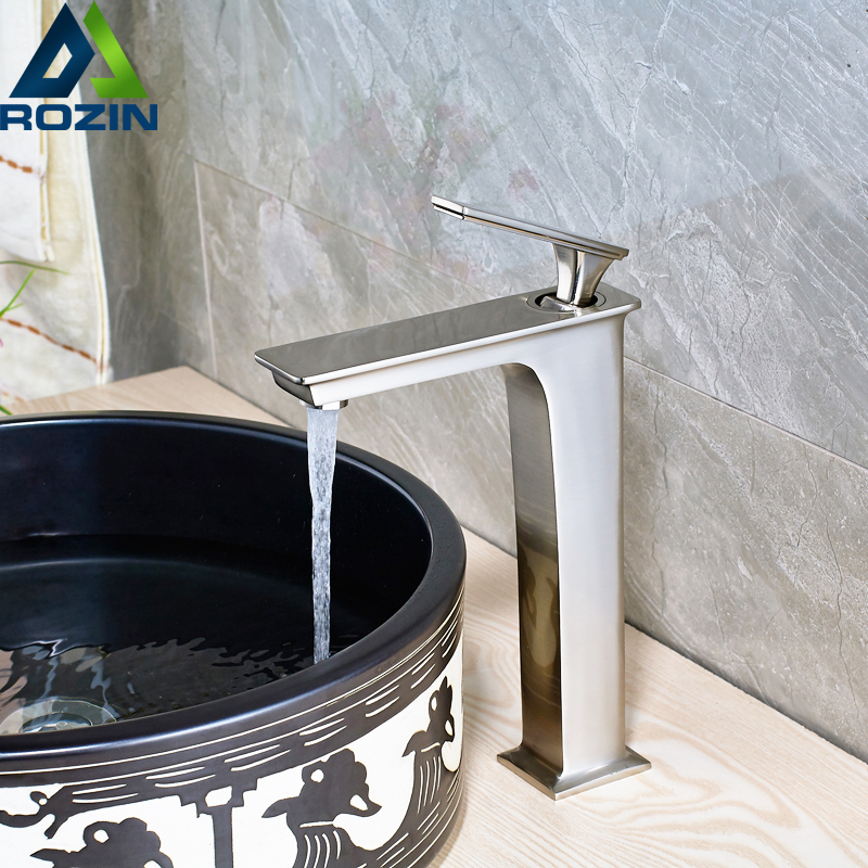 Brushed Nickel Square Countertop Basin Sink Faucet One Handle Lavatory Vessel Sink Mixer Tap with Hot and Cold Water crystal white basin vessel sink faucet single lever countertop bathroom mixer taps with hot and cold water