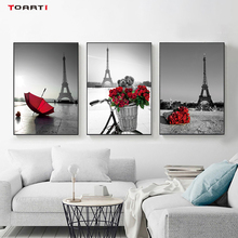 Paris City Black&White Photo Pictures Prints Vintage Poster Red Rose&Umbrella Wall Art Modern Canvas Painting Bedroom Decoration