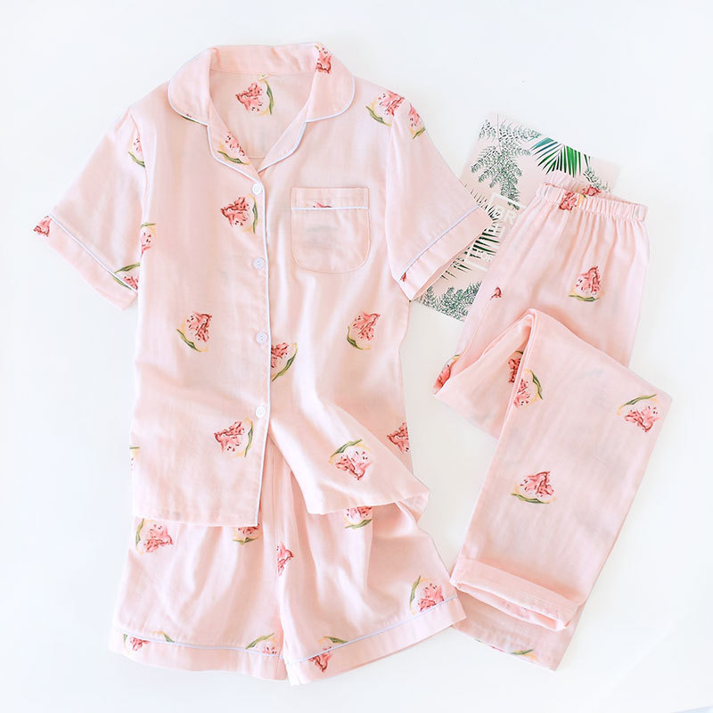 Image 2 - 3pcs suits Fresh short sleeve pyjamas women Summer 100% gauze cotton sleepwear women Korea pajamas shorts home pants New Sale-in Pajama Sets from Underwear & Sleepwears