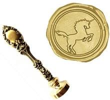 Vintage Cool Unicorn Horse Custom Picture Logo Luxury Wax Seal Sealing Stamp Brass Peacock Metal Handle Gift Set