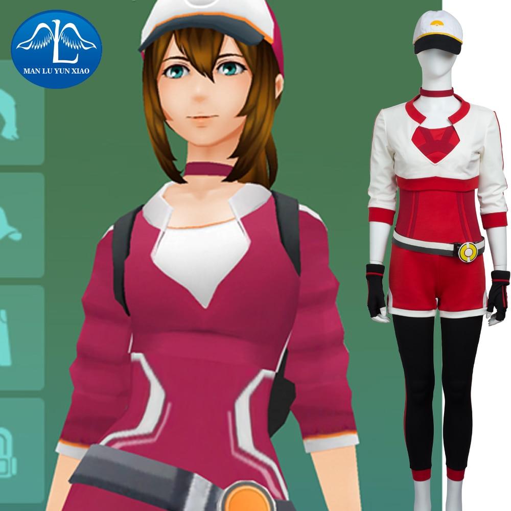MANLUYUNXIAO Pokemon GO Three Colors Trainer Costume Women Halloween Costumes Pokemon Go Cosplay Costume Uniform Customize