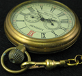 Antique 1856'sSwiss Style Pure Copper AUTO Mechanical Men Pocket Watch hand wind Fob Watches W/Chain 5 Hands Luxury
