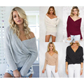 5 color Plus Size S~XL Fashion Casual Cross Batwing Long Sleeve Deep V Neck Loose Pullover Sexy Knitting Women Sweater Tops